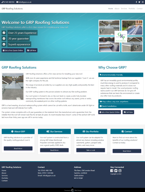 GRP Roofing Solutions Website Screenshot