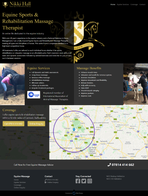 Nikki Hall Equine Sports & Rehabilitation Massage Therapist Website Screenshot